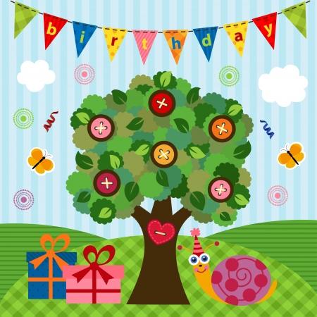 vector illustration, snail celebrating its birthday under the tree Vector