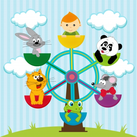 Vektor-Illustration, Karussell mit dem Jungen und Tiere Illustration