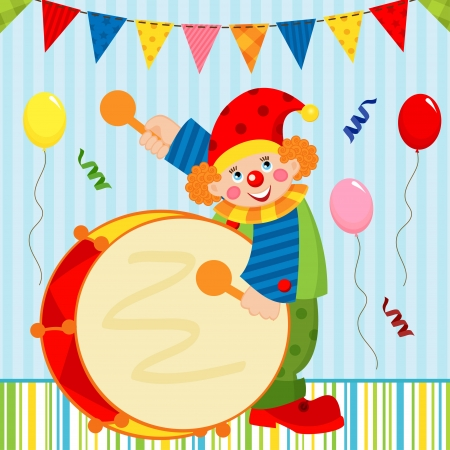 vector illustration, сlown playing the drum