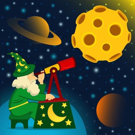 Astrónomo mira la luna, ilustración vectorial