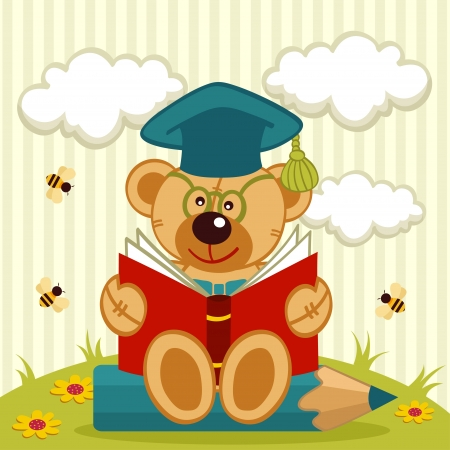 pencil cartoon: teddy bear profesor - ilustraci�n vectorial