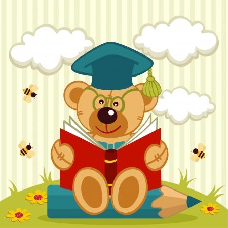 teddy bear vector: teddy bear professor - vector illustration Illustration