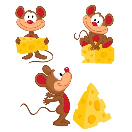 Mouse and cheese in a variety of actions - vector illustration Illustration