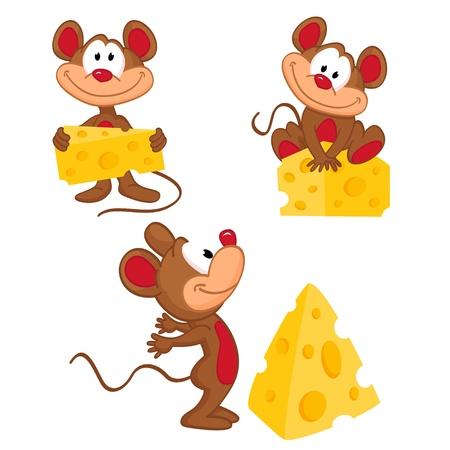 kaas: Muis en kaas in een verscheidenheid van acties - vector illustratie Stock Illustratie