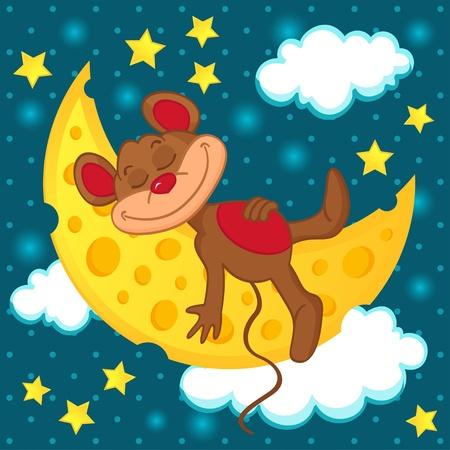 Maus schläft auf dem Mond in Form von Käse - Vektor-Illustration