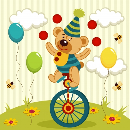 juggler: bear clown juggles and rides a unicycle - vector illustration