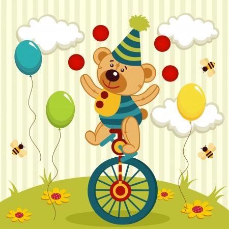 harlequin: bear clown juggles and rides a unicycle - vector illustration