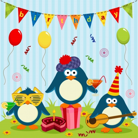 birthday cards: three cute penguins celebrate birthday - vector illustration