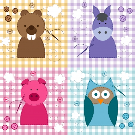 needle and thread: seamless texture with animals - vector illustration
