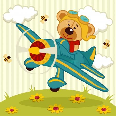 oso caricatura: oso de peluche vuela en un avión - ilustración vectorial Vectores