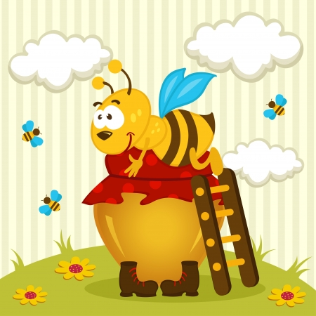 bee hug a pot of honey -  illustration Vector