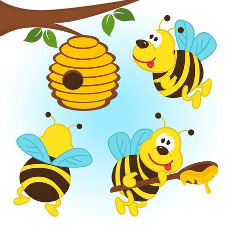 Bienen fliegen um einen Bienenstock - Illustration