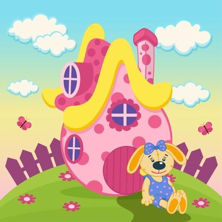 Kaninchen mit einem rosa Haus - Illustration