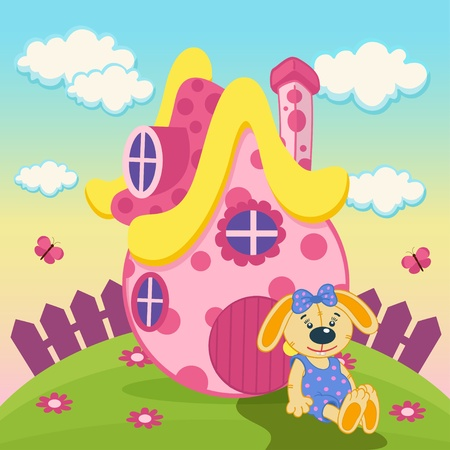 doll house: rabbit with a pink house -  illustration Illustration