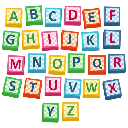 English alphabet cubes -  illustration Çizim
