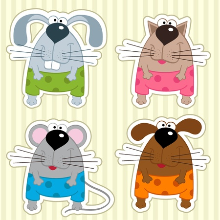 cute mouse: set funny icon animals -  illustration