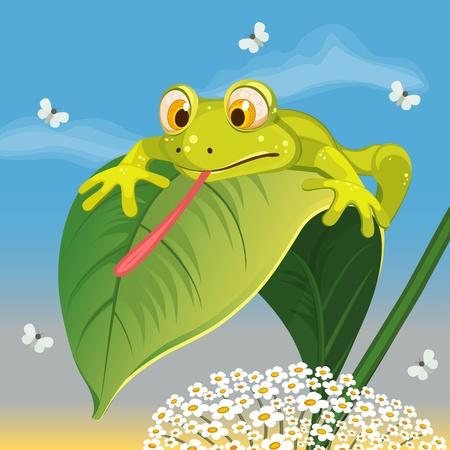snatch: frog hunts butterfly -  illustration