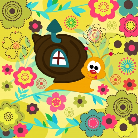 snail crawling on a flower stalk -  illustration