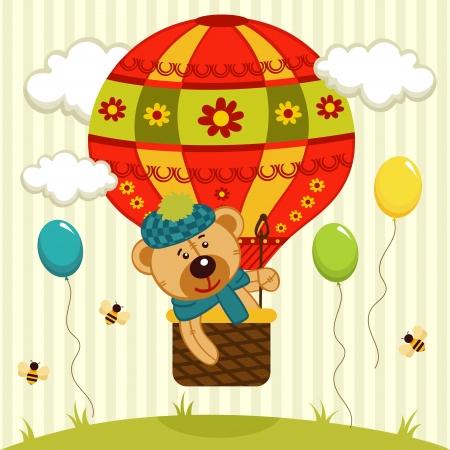 teddy bear flies on air balloon -  illustration