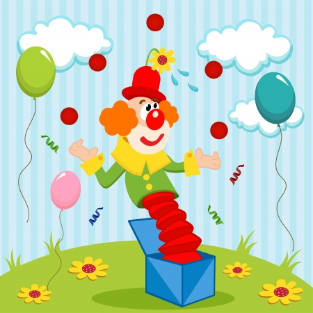 clown juggles balls - illustration Vector