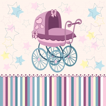 baby carriage: pram for the little ones - illustration Illustration