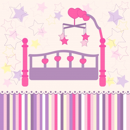 baby crib: baby bed with carousel -  illustration