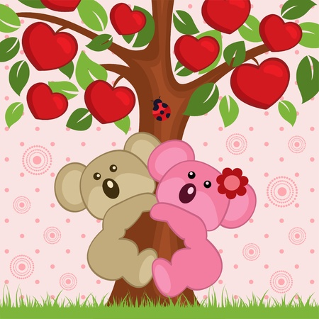 Paar in der Liebe Koala in einem Baum - Illustration