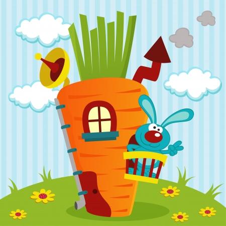 Kaninchen im Haus von Karotten - Illustration