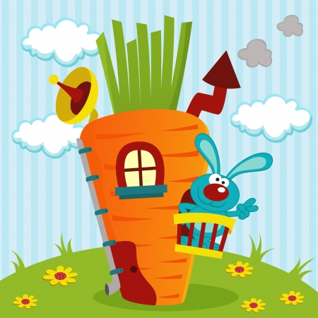 rabbit in house of carrots -  illustration Vector