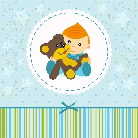 baby boy keep a  teddy  bear - illustration Vector