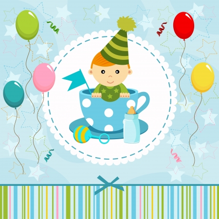 little baby boy in cup - illustration Vector