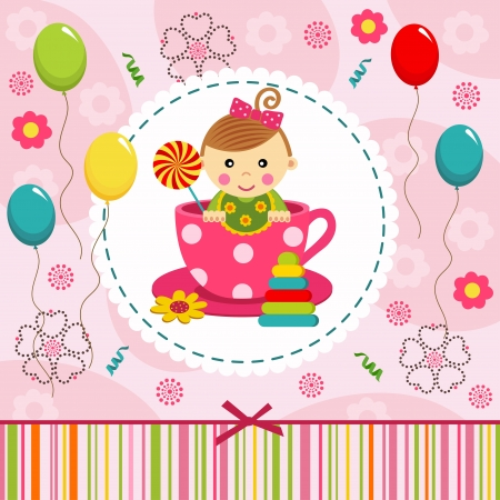 little baby girl in cup - illustration Vector