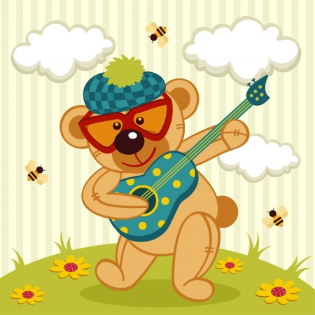 teddy bear play on a guitar - illustration Vector