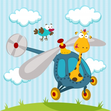 giraffe and bird on a helicopter - illustration vector Vector