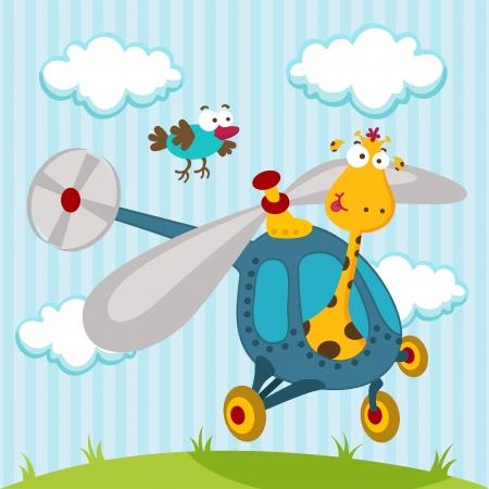 Giraffen und Vogel auf einem Hubschrauber - Collection Videos