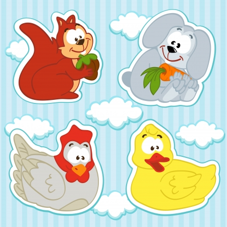 icon set animal  and bird vector  squirrel, hare, chicken, duck, Vector