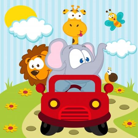 животные: животных на машине - векторные иллюстрации Иллюстрация
