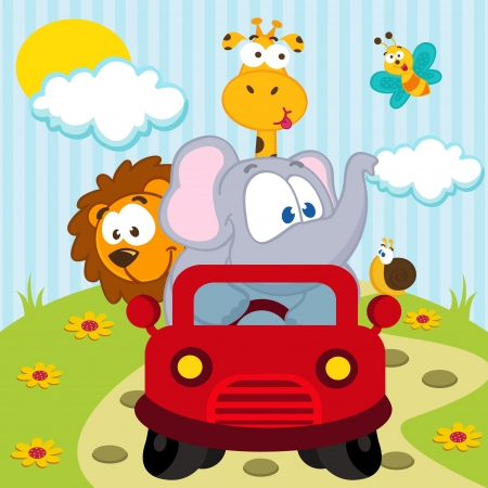 animals by car - vector illustration Illustration