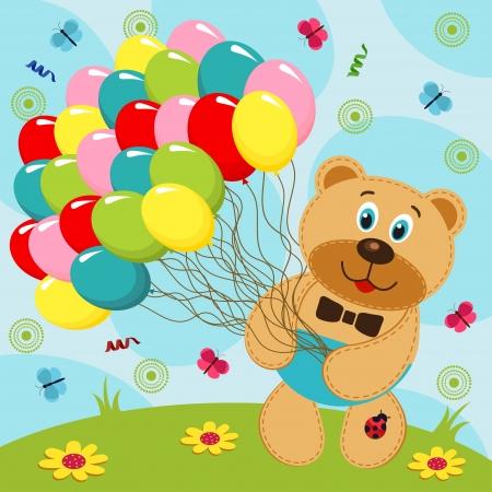cartoon butterfly: Bear with balloons - vector illustration