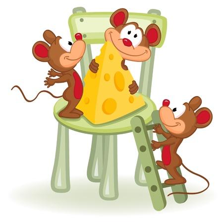 Maus mit Käse auf einem Stuhl - Vektor-Illustration