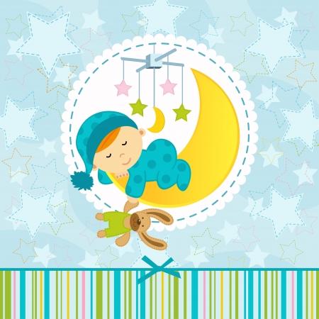 child sleeping: baby boy sleeping - vector illustration