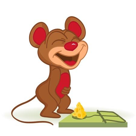 Muis en kaas in muizenval - vectorillustratie