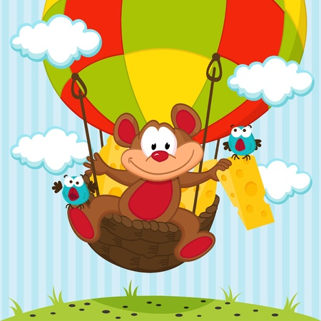 air animals: mouse and a bird in a balloon -  vector illustration