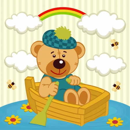 teddy bear on boat - vector illustration Vector