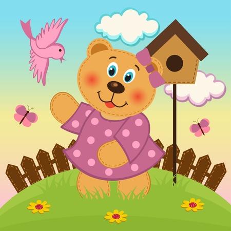 bear girl  feeding birds Stock Vector - 21743335