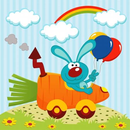 zanahoria caricatura: conejo en coche de las zanahorias Vectores