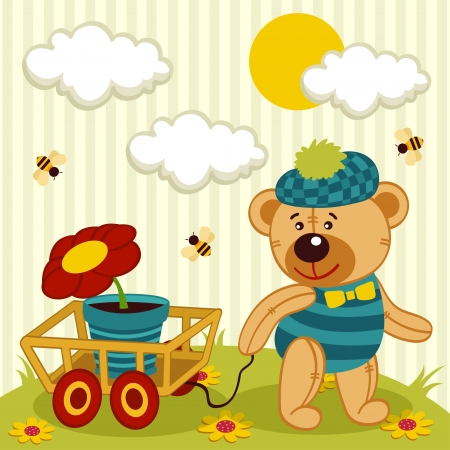 bear with a flower in a pot  Vector