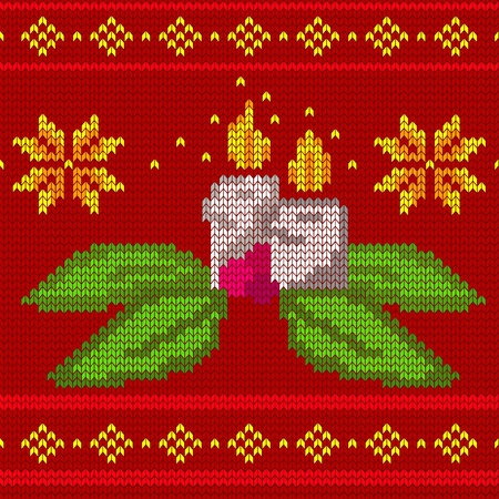 candles seamless knit pattern - vector illustration