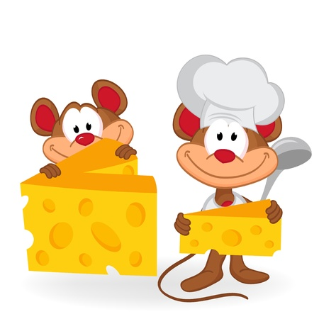 cute mouse: mouse cook with cheese -  vector illustration Illustration