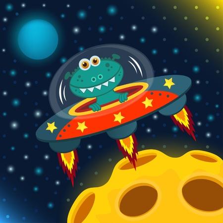 disco volante: UFO alieno, disco volante Vettoriali